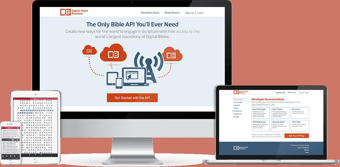 Responsive web design of the Digital Bible Platform.