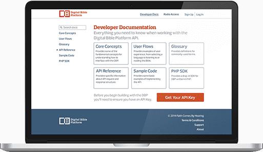A laptop displaying the Digital Bible Platform website.