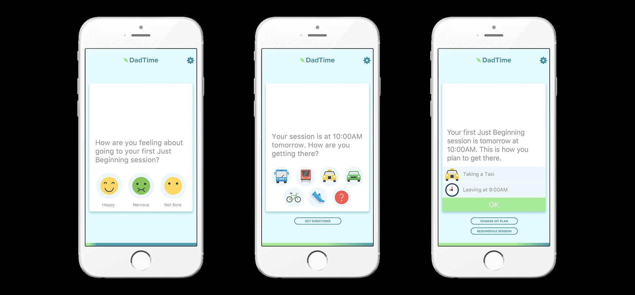 Three views of the Dadtime app