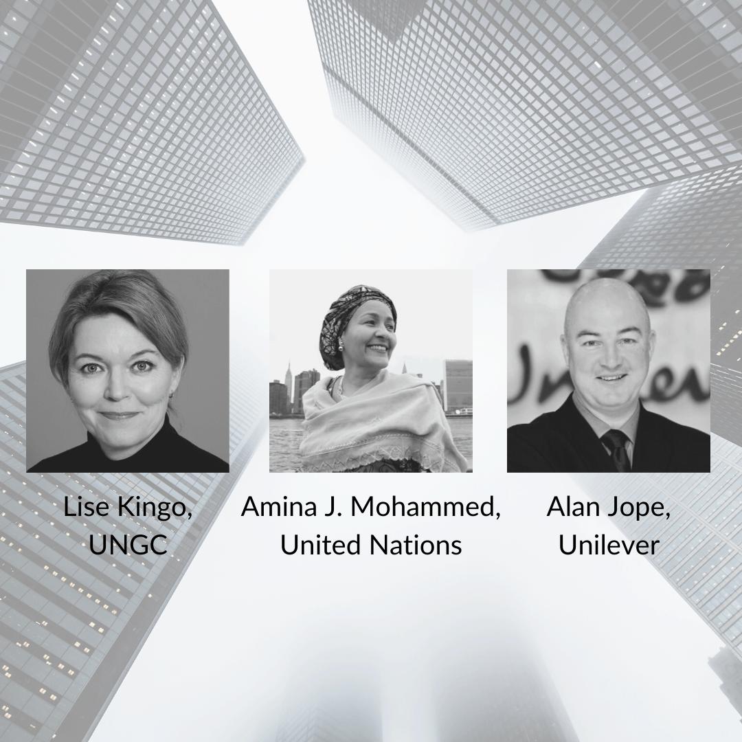 Portraits of Lise Kingo, Amina J. Mohammed, and Alan Jope.